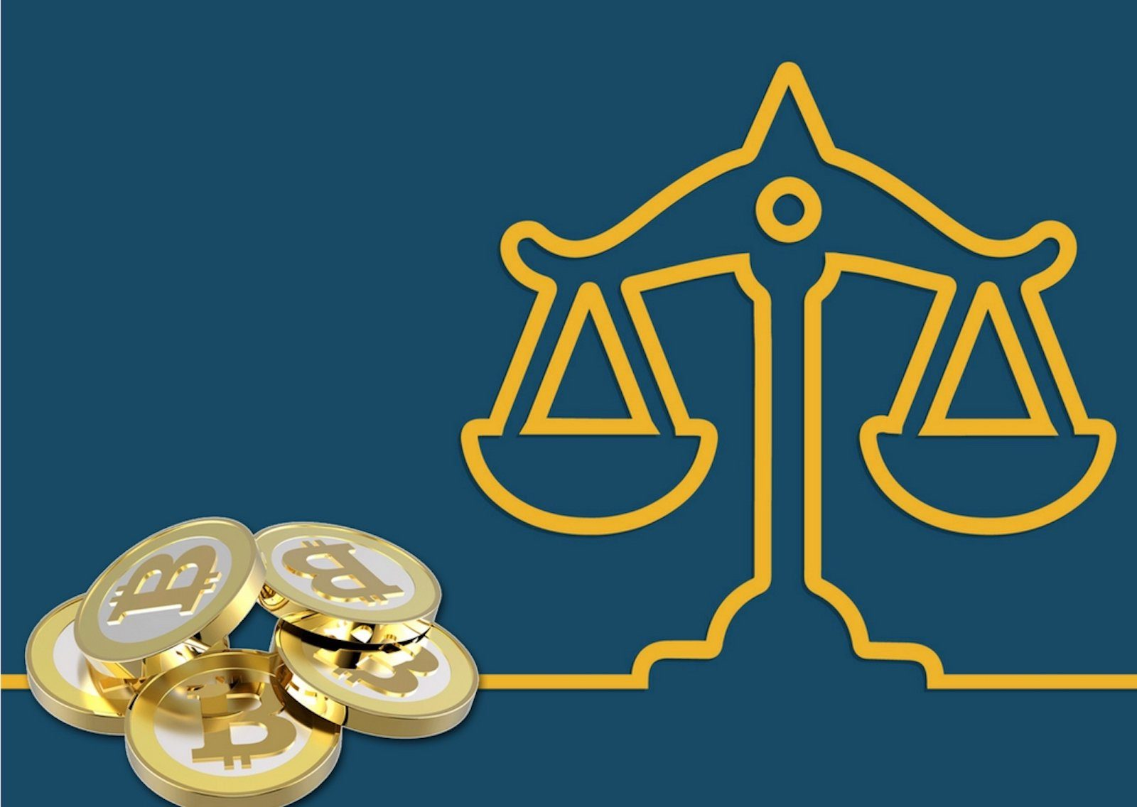 bitcoins next to cartoon image of law balance