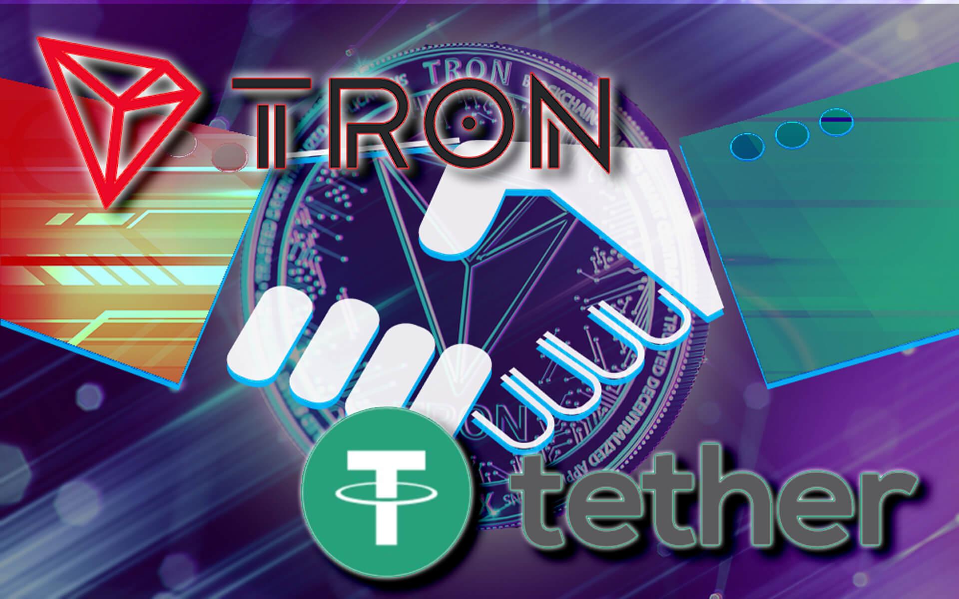 tron-logo-on-coin-troncoin-modern-futuristic-design-partnership-with-tether-hand-shake