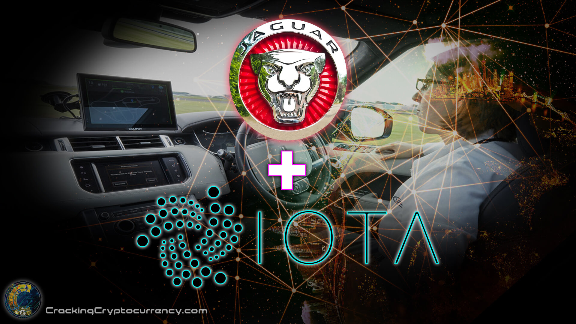 jaguar car logo and iota logo over inside land rover looking at dash with screen and driver with tech network overlay