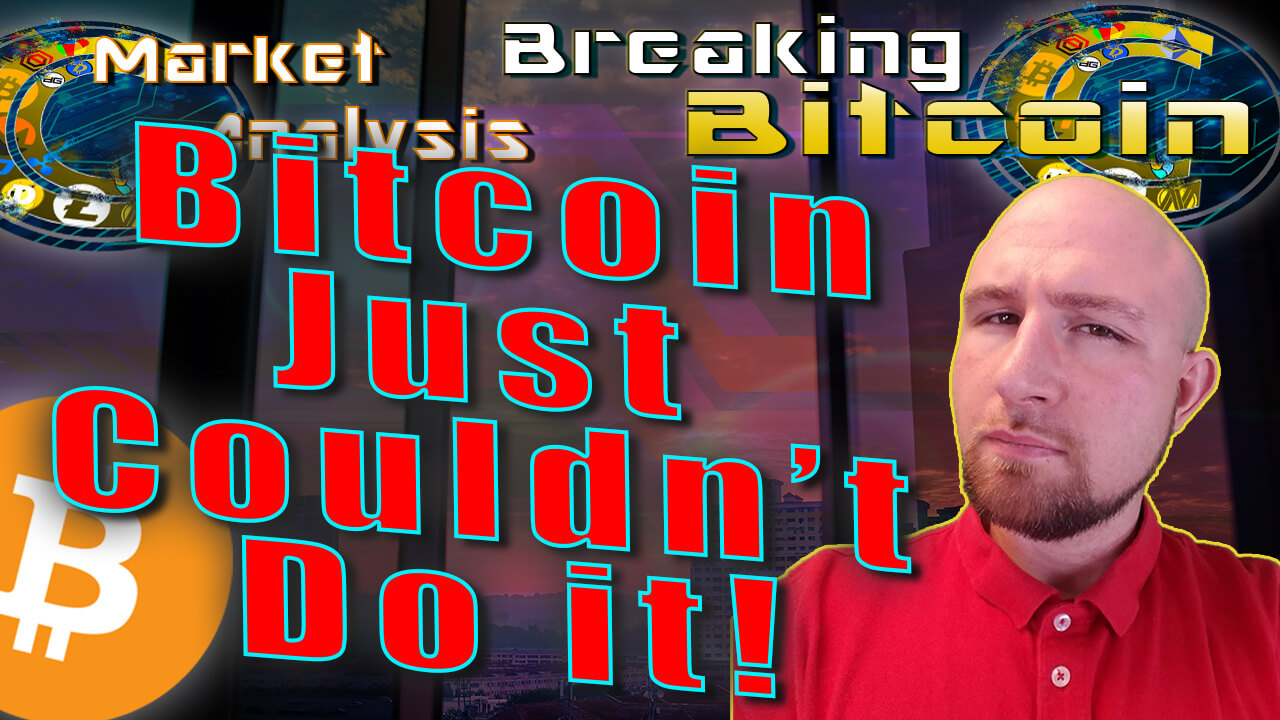 text bitcoin just couldn't do it next to neutral justin face with window city skyscraper background graphic and bitcoin logo