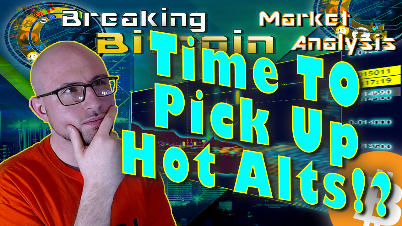 text tiem to pick up hot alts? next to justin thinking with hand on chin and show title at top with city landscape and chart graphic background and bitcoin logo