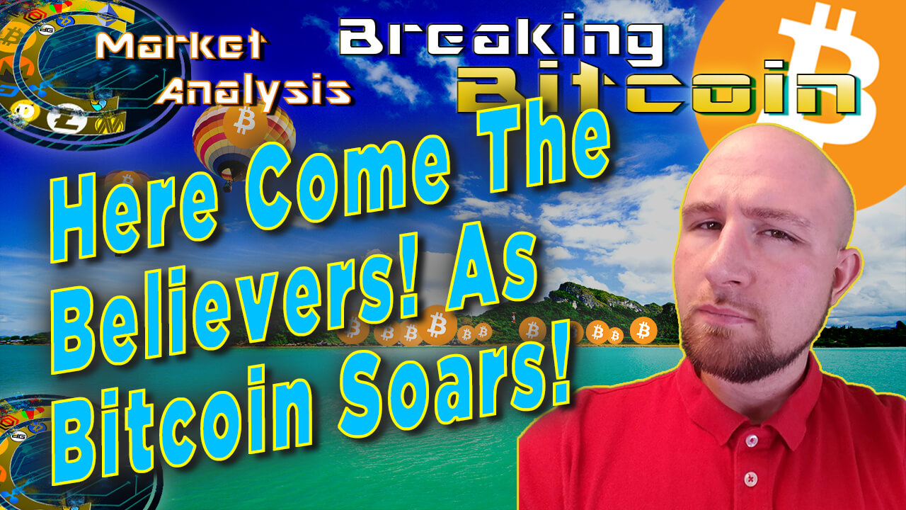 text here come the believers! as bitcoin soars next to justin with graphic background of tropical island with little bitcoins at the coast and bitcoin logo