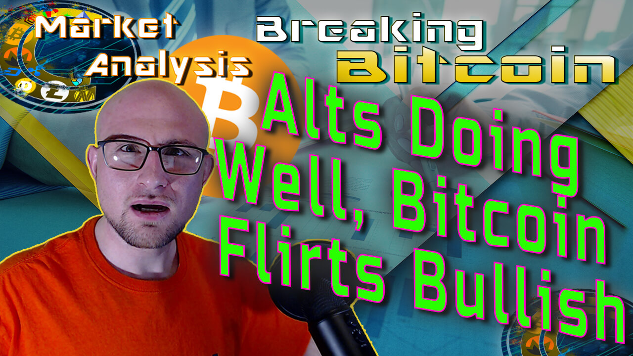 text alts doing well, bitcoin flirsts bullish next to justin relaxed 'whaaaaat' face with market graphs on table graphic background and bitcoin logo