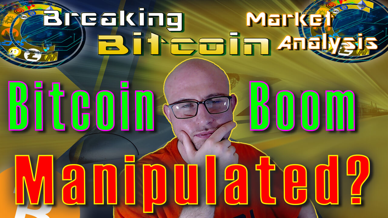 text bitcoin boom manipulated? around justin's face thinking with hand on chin with speed train tunnle graphic with material yellow transparent overaly background graphic and bitcoin logo