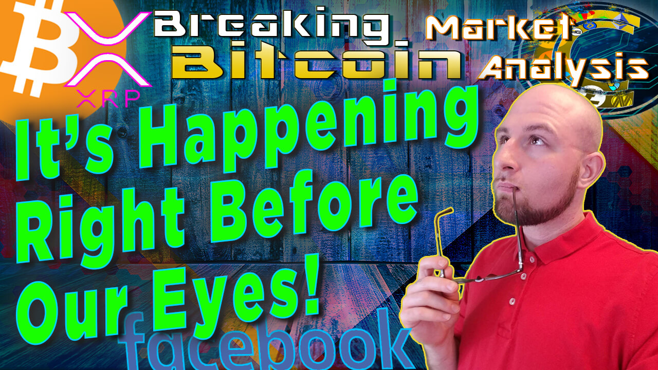 text it's happening right before our eyes next to justin thinking into the distance with glasses on lip with graphic background and bitcoin facebook ripple logo