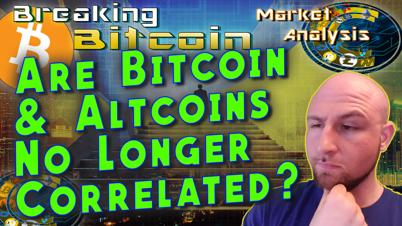text are bitcoin adn altcoins no longer correlated? next to justin with hand on chin thinking and graphic background and bitcoin logo
