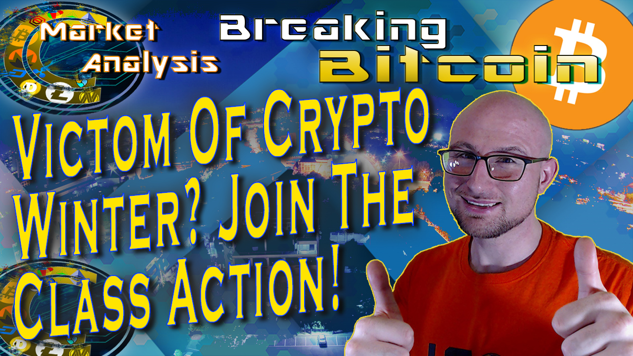 text victom of crypto winter! join the class action! next to justins two thumbs up face and graphic background with bitcoin logo