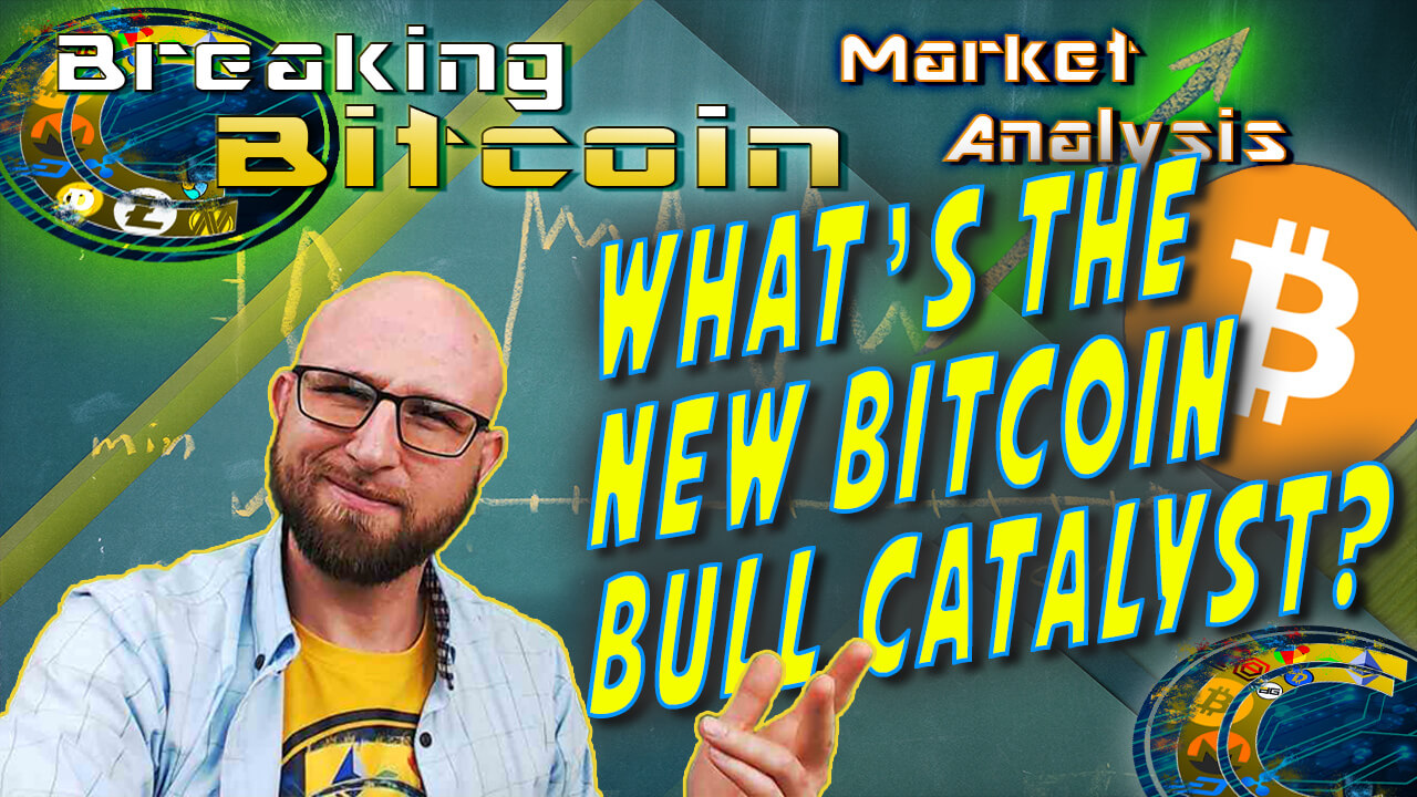 "text what's the new bitcoin bull catalyst next to justin's ""did you see this"" face with hand up like here it is with graphic background of school chalk board with chart drawn and arrow at right end going up to moon and bitcoin logo"