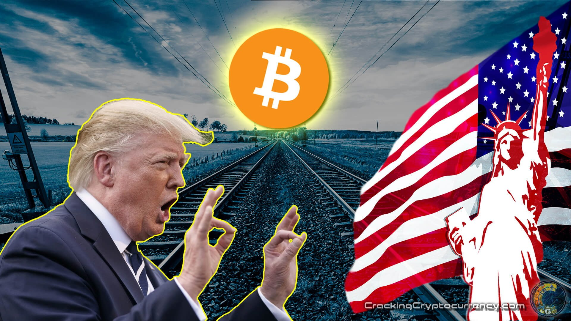 trump with two hands up in 'ok' symbol and mouth open talking looking to right at illustration of lady liberty and american flag with background graphic of train tracks running up into distance leading to big bitcoin logo with shining yellow behind it