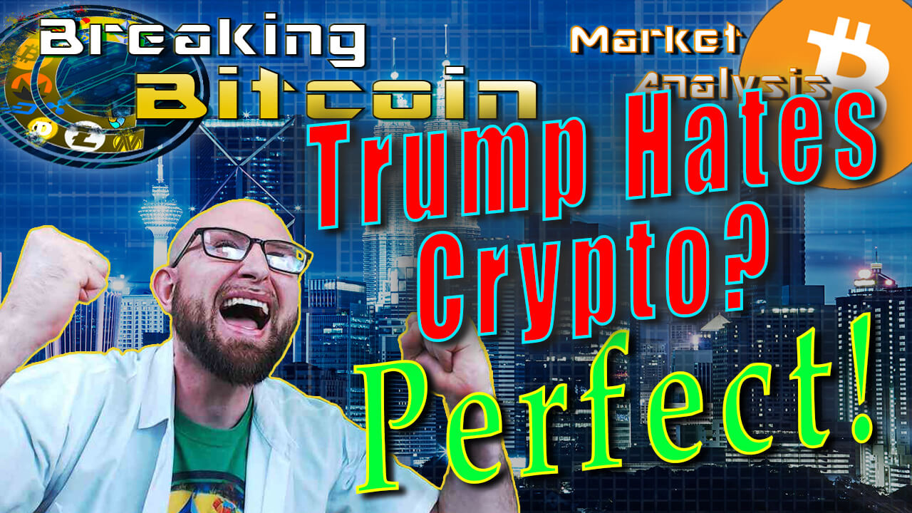 text trump hates crypto? perfect! next to insane happy justin with both arms up and 2 fists screaming in excitement with graphic background and bitcoin logo