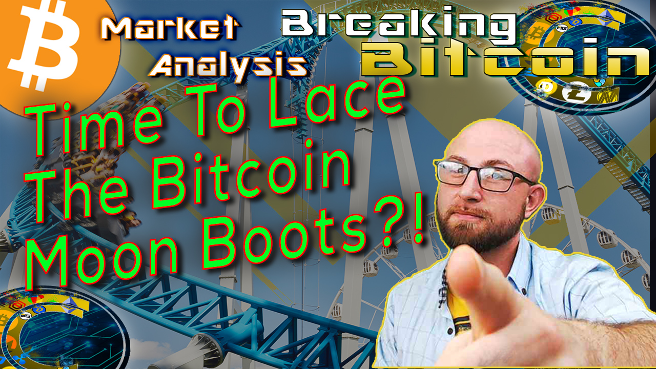 text time to lace up the bitcoin moon boots?! next to justin happy msirking and point straight at camera with graphic background of roller coaster and bitcoin logo