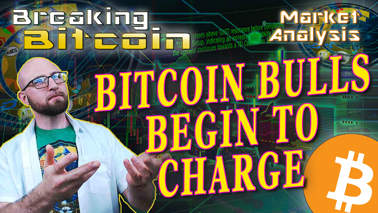 text bitcoin bulls begin charge next to justin offering up title with graphic background and bitcoin logo
