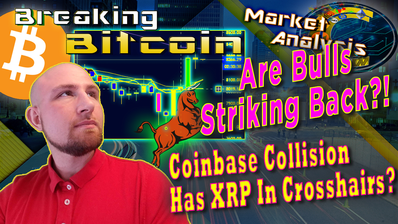Text are bulls striking back? Coinbase colloision has crosshairs on xrp next to justin's face looking up at title with graphic background and bitcoin bullish chart with background glow and a bull graphic pushing the long candles up with bitcoin logo