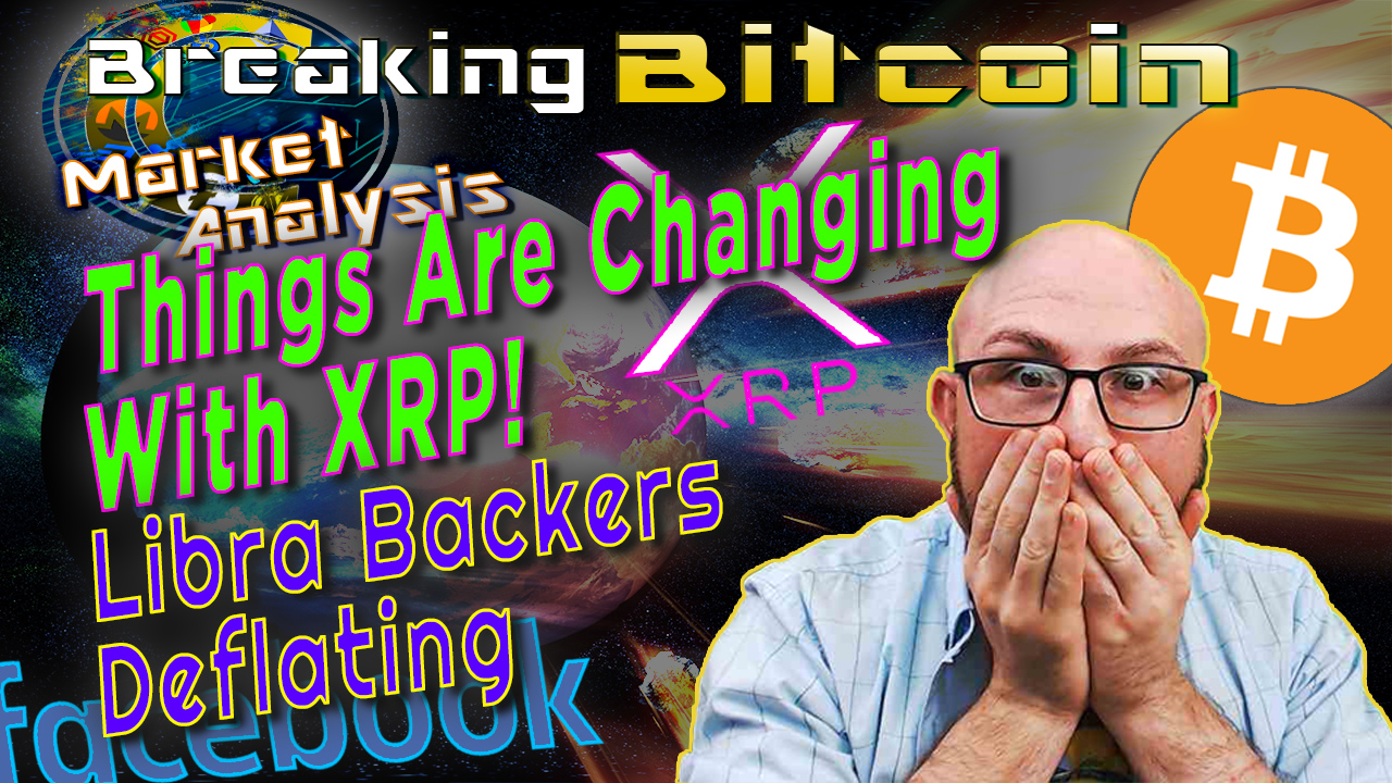 text things are changing with xrp! Libra backers deflating?! Next to justin shocked hands on face and graphic background with bitcoin and facebook logo