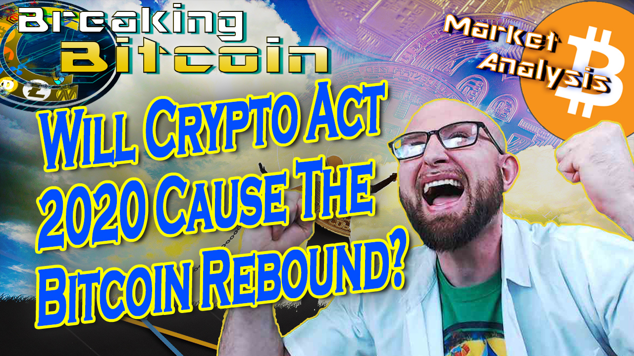 words will crypto act 2020 cause the bitcoin rebound? next to justin super excited happy with double fist clenched held high and graphic background of man in chains but very bright and coloful happy and bitcoin logo