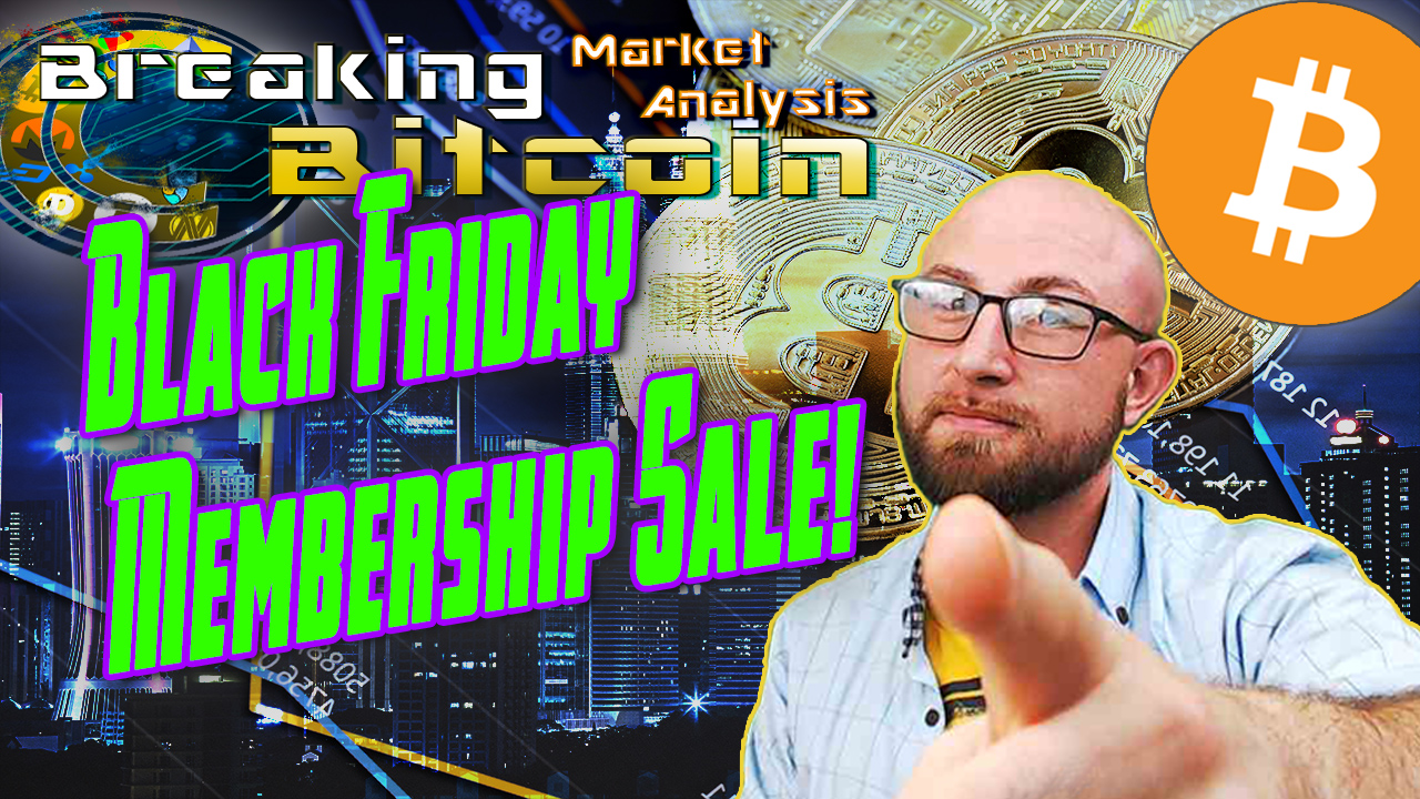 text black friday membership sale next to justin pointing at camera for you with graphic turkey and background and bitcoin logo