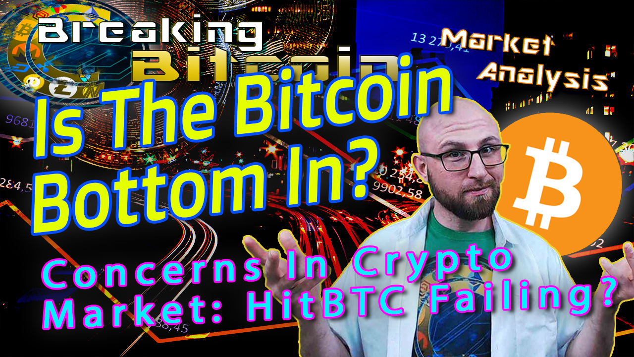 text is the bitcoin bottom in? next to justin shrugging with hands up curious face and red bearish graphic background and bitcoin logo